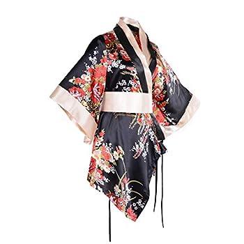 Adult Short Kimono Costume Robe Sexy Floral Deep V-Neck Satin Nightwear Bathrobe Japanese Bathrobe Sleepwear Outfit  Black