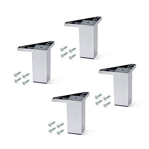 EMUCA - Pies para Muebles de plástico Gris Metalizado, Patas para Mueble, Lote de 4 pies de Altura 100mm con Tornillos de Montaje
