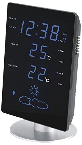 Technoline WS 6820 Wetterstation mit Innen- und Außentemperatur, Uhrzeit und Wettertendenz mit Hilfe von Symbolen, blauer LED-Anzeige, schwarz, 13,5 x 5,5 x 20,5 cm