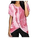 YANFANG Camisa Minimalista de deconstrucción de torceduras con teñido Anudado a la Moda para Mujer,Larga Sudadera Casual Top Túnica Tops Jersey Largo,Pink,XXL