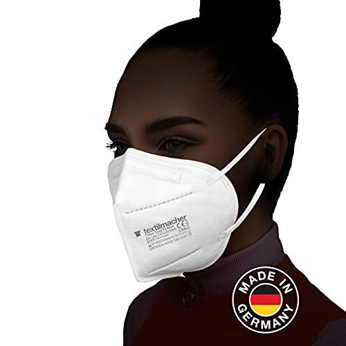 Textilmacher FFP2 Maske I 20 Stück I Made in Germany I DEKRA zertifziert I CE zertifziert I Einweg Mund- und Nasenschutz I 4-lagig I Partikelfiltermaske