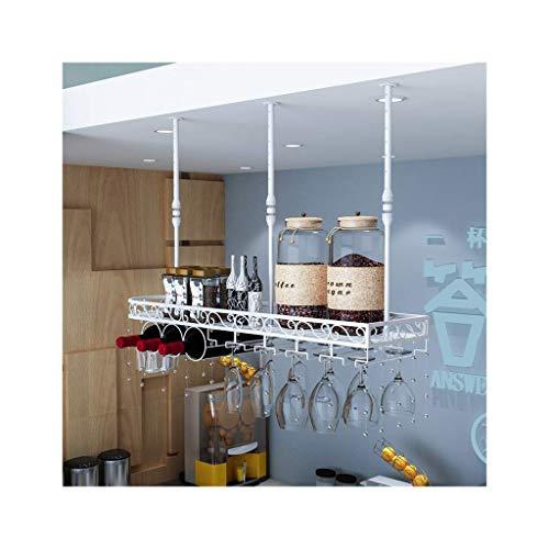 TIANPIN Hängendes Weinglasregal im europäischen Stil, verkehrtes Weinregal, kreativer Weinschrank-Dekorationsbügel für Zuhause, Stielhalter für Ornament-Bartheken (Farbe: Weiß, Größe: 80 * 25 cm)