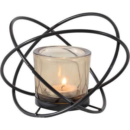 TAMRG Portavelas geométrico, palillos de vela de cristal, portavelas de metal, decoración de mesa, decoración romántica, decoración de banquete de boda (negro)