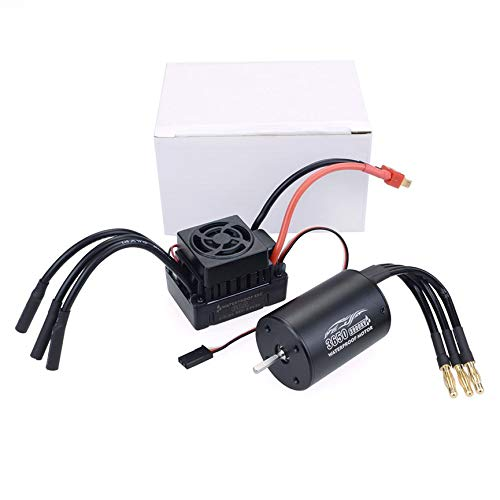 Richoyster Impermeable 3650 2300KV / 3100KV / 3900KV Motor sin escobillas sin Sentido y Juego Combinado ESC sin escobillas 60A para Barco de Coche RC 1/10
