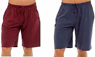 Best Deals Direct UK Mens Twin Pack Lounge Shorts Jersey Sleep Night Wear Pyjamas PJ Bottoms (3XL, Navy & red)