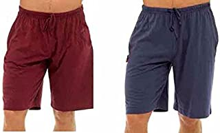 Best Deals Direct UK Mens Twin Pack Lounge Shorts Stretch Jersey Sleep Night Wear Pyjamas PJ Bottoms (Large, Navy & red)