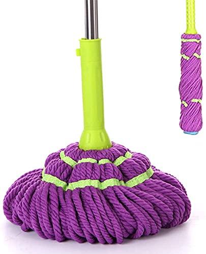 Fregona y cubo Fregona de algodón de espinilla automática, fregón de pisos de Easywring de manos libres, multiuso para la baldosa laminada de madera dura gris Palo de fregona (Color : Purple)