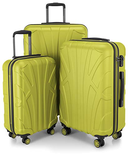 SUITLINE - Set of 3 Hardshell suitcases, Travel suitcases, Trolley, Rigid luggages, TSA, (55 cm, 66 cm, 76 cm), 100% ABS, mat, Fern