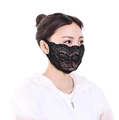 Lace Mouth Mask Washable Reusable Face Mask Sunscreen Anti Dust Pollution Mask Sun Protection Mask Health Cycling Sexy Lace Mouth Face Masks (3 pcs Black)