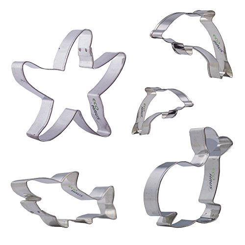 Cookie Cutter Fish - 5 pcs Stainless Steel Pastry Cutters Shaped Shark Whale Dolphin Nemo Fish and Boat - Easy to Clean - Ideal For Fruits Fondant Keks Dough Vegetables Bread Biscuit and more
