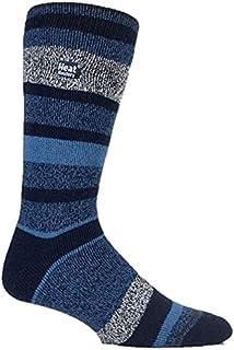 Heat Holders Men's Warm Winter Thermal Lite Socks (Navy Stripe)