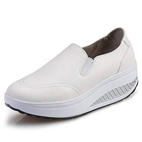 Solshine Damen Einfach Leder Bequem Erhöhte Sportliche Loafers Freizeitschuhe weiß 36 EU / 3.5 UK / 5.5 US
