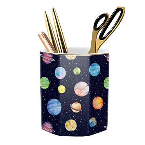WAVEYU Pens Holder, Organizer Decor for Desk Pencil Holder Cup for Boys Kids Durable Ceramic Desk Organizer Makeup Brush Holder Ideal Gift for Office, Classroom, Home, Colorful Planet