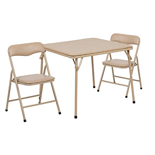 Flash Furniture Kids Tan 3 Piece Folding Table and Chair Set