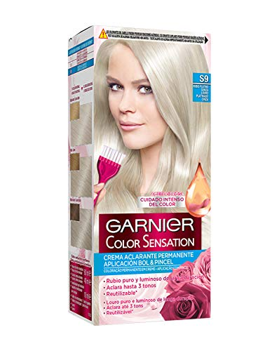 Garnier Color Sensation coloración permanente e intensa reutilizable con bol y pincel - S9 Rubio Platino Ceniza