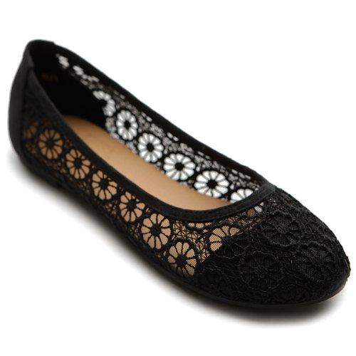 Ollio Womens Ballets Shoes Floral Lace Breathables Flats 1ZM1022(8 B(M) US, Black)