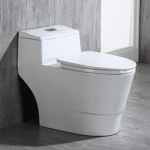 WOODBRIDGE T-0018 Woodbridgebath T-018 Dual Flush Elongated One Piece Toilet with Soft Closing Seat, Comfort Height, Water Sense, Cotton White