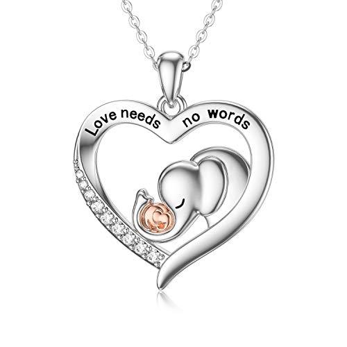 ROMANTICWORK Collar con colgante de corazón de plata de ley para mujer, regalo de cumpleaños, día de la madre, regalo para hija, mamá, mujeres y niñas