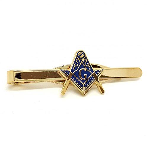 BOBIJOO Jewelry - Pince à Cravate Doré Or Fin Métal Email Bleu Franc-Maçonnerie Equerre Compas G