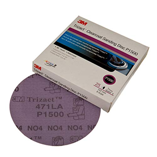 3M Trizact Hookit Clear Coat Sanding Disc, 02095, 5 in, 25 per carton