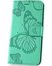 JAWSEU Funda Compatible con LG K50/Q60, Carcasa 3D Mariposa Diseño PU Cuero Flip Libro Billetera Soporte Plegable Cartera Cierre Magnético Ranura para Tarjetas Protectora Cubierta,Verde