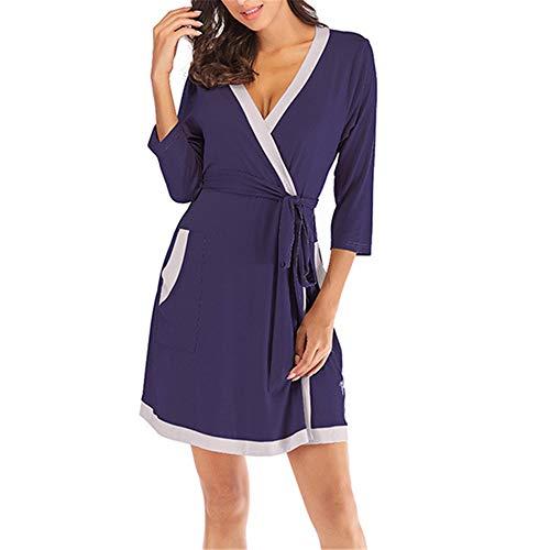 Damen Morgenmantel Kimono mit Taschen Bademantel Satin Kurz Robe Nachthemd Nachtwäsche Mit Blumenspitze,Modal sexy Nähmantel Bademantel versteckt blau S
