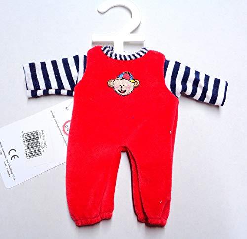 Eigenmarke Schwenk Puppen Kleidung Nicki Overall rot mit Ringelstreifen für 24 - 26 cm Puppen, Nr. 108