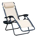 WEGO Zero Gravity Chair, Lawn Chair Flolding Recliner Lounge Chair with Removable Pillow and Side Table,Beige