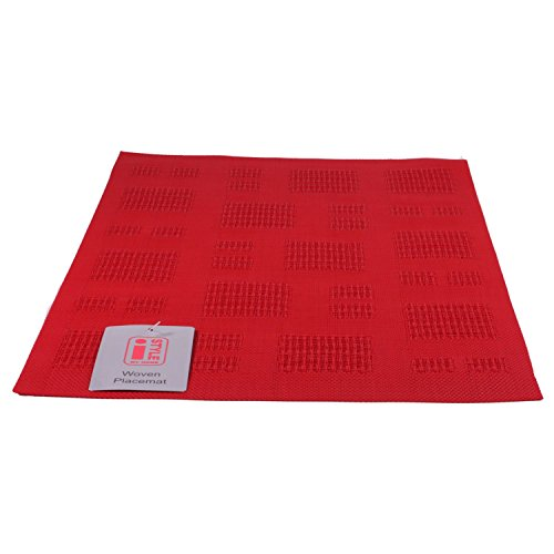 iStyle – Teslin tissé Set de Table 30 cm x 45 cm – Rouge Carreaux