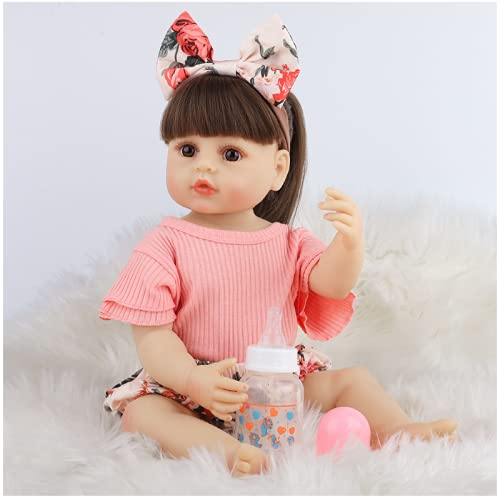 SWEGFDHNT Munecas Bebes Reales - 22 Inch 55 Cm NiñA Renacida - Vinilo De Silicona MuñEca ReciéN Nacida, Reborn Birthday Gifts