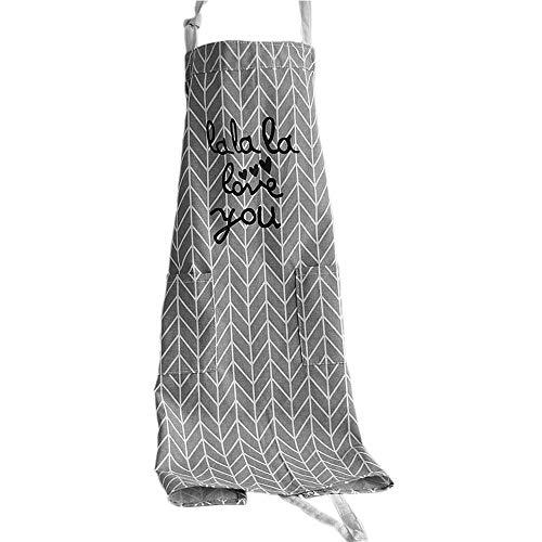 Frau Kochen Schürze Küchenschürze, Baumwolle Backen Schürze mit Taschen (Grau)