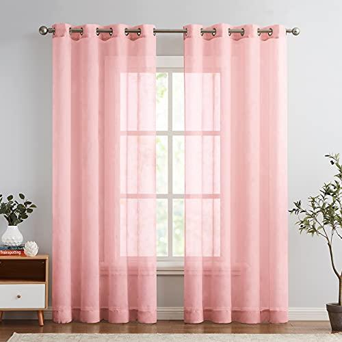 TOPICK Voile Vorhang Mit Ösen Sheer Vorhänge Transparent Gardine Gaze Paarig Ösenschals für Wohnzimmer Schlafzimmer 225 cm x 140 cm(HxB) 2er - Set Rosa