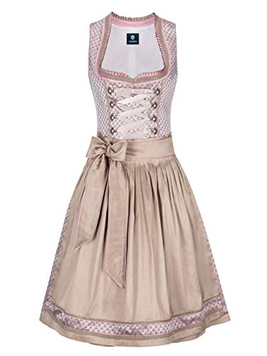 Almbock Dirndl Damen Midi - Dirndl Midi rosa Made in Germany - Festliches Trachtenkleid zur Hochzeit oder Oktoberfest in Größe 38