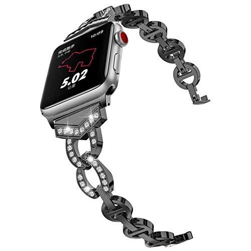 Chen 8 en Forma de Vo Diamantes sólido de Acero Inoxidable Reloj de la Correa de Banda de Reloj del Reloj for Apple Serie 3 y 2 y 1 42 mm (Negro) Electrónica (Color : Gold)