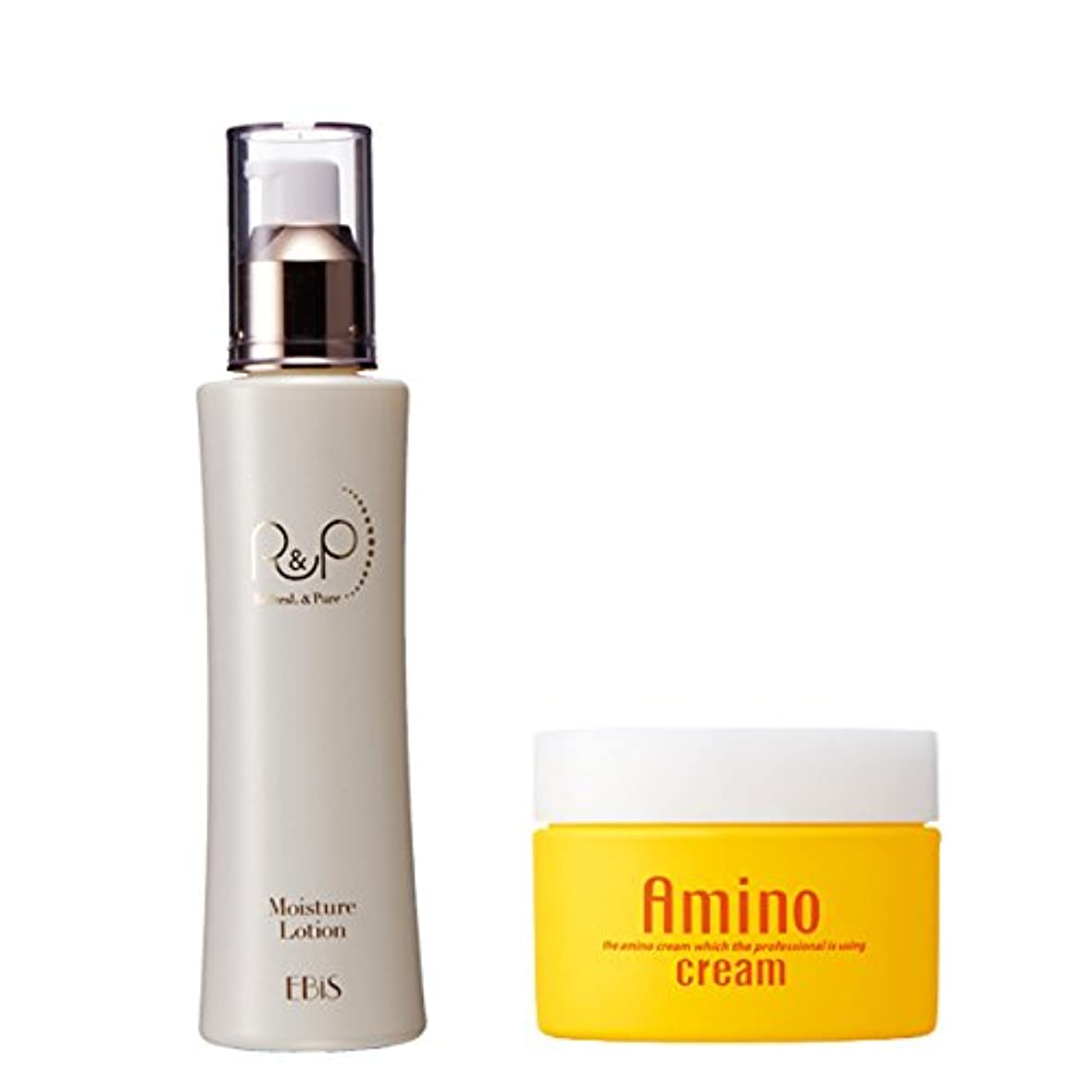 打ち上げる排他的理想的エビス化粧品(EBiS)モイスチャーローション125g & アミノクリーム100g 保湿クリーム 化粧水のセット
