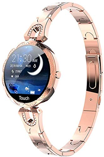 Reloj inteligente para mujer, impermeable, dispositivo portátil, monitor de ritmo cardíaco, reloj inteligente deportivo para mujeres, color dorado