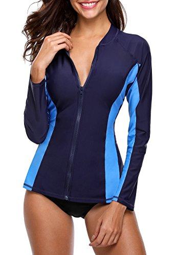 ATTRACO Women UV Shirt Long Sleeve Swim Shirts Rash Guard Top Wetsuit Navy M