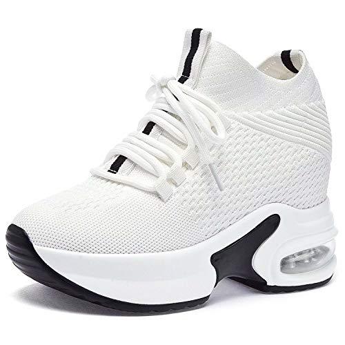 GURGER Zapatillas Cuña Mujer Zapatillas de Deporte Wedge Plataforma Sneakers Cuña Tacón Oculto 7.5CM Blanco 38/245