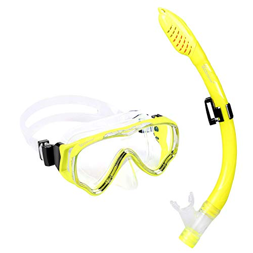 UPhitnis Schnorchelset Kinder - Taucherbrille Anti-Fog und Trocken Schnorchel - Anti-Leck Tauchmaske Dry Schnorchel - Schnorcheln Set für Jungen Mädchen - Gelb