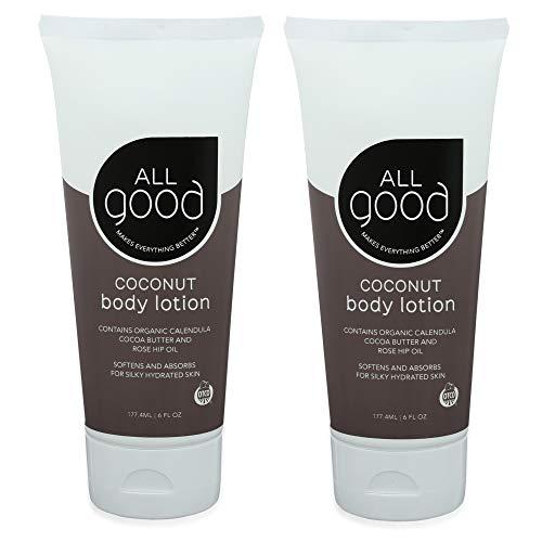 All Good Body Lotion w/Essential Oils – Moisturizing Organic Lotion w/Calendula, Cocoa Butter, Coconut & Rose Hip Oil…