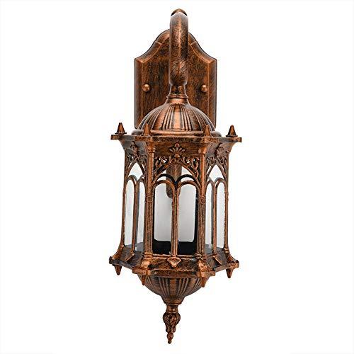 Outdoor wandlamp, vintage stijl wandlantaarn waterdichte outdoor wandlamp vintage licht, E27, glazen lampenkap, aluminium, 41 x 22,8 x 15,5 cm