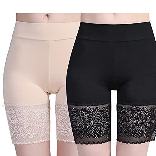 2 pares de pantalones cortos básicos para mujer, de algodón, antirozaduras, pantalones cortos de pierna larga, calzoncillos tipo bóxer, ropa interior