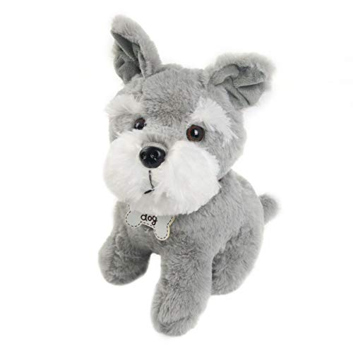 Athoinsu Stuffed Schnauzer Dog Soft Plush Toy Adorable Puppy Birthday for Toddler Kids Boys Girls Dog Lovers, 10''