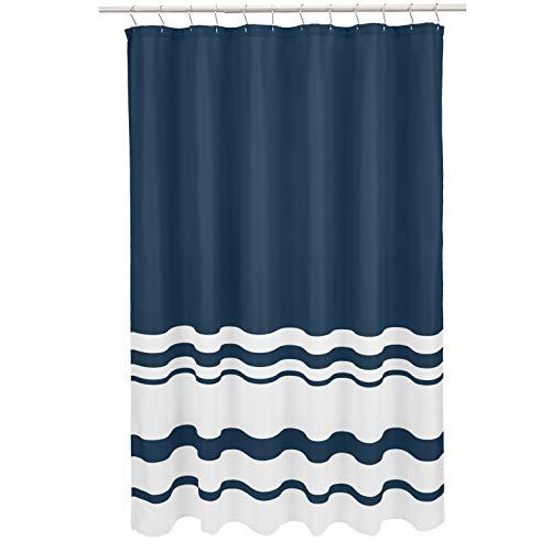 Amazon Basics - Duschvorhang, gestreift, Blau (Twilight Blue)/Weiß