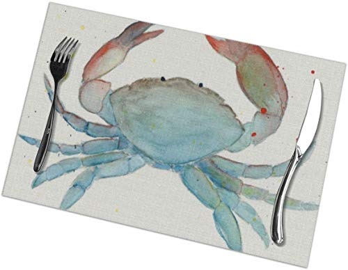 Mat for Table- Watercolor Crab PVC Placemat Weave Design Heat Resistant Dining Table Place Mats for Kitchen Table12 X 18 Inches
