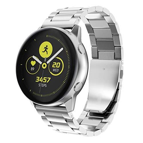 Lobwerk armband van metaal voor Samsung Galaxy Watch/Active 2/Gear Sport S2 Classic (20 mm) smartwatch horlogeband reservearmband, zilver