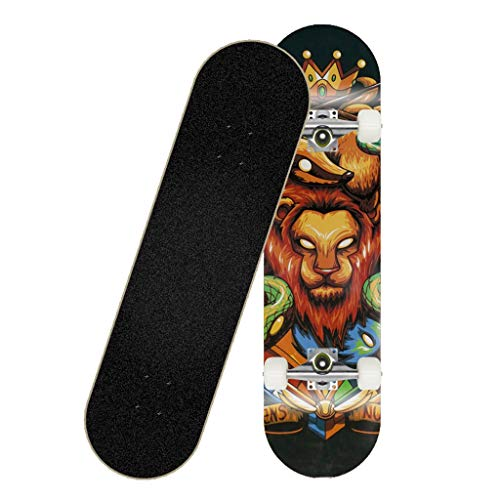 Tabla de skate, tabla de skate for adultos, tabla completa con cubierta de arce duro de 8 capas con cojinetes de acero cromado ABEC, 31 X 8 X 4 Lnches Carga 150 kg for principiantes y profesionales