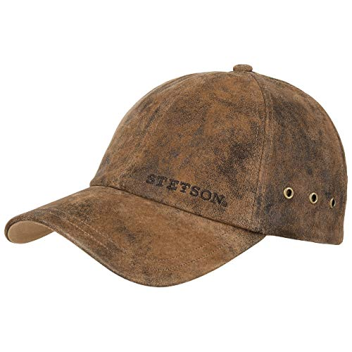 Stetson Rawlins Pigskin Basecap (Vintage-Look) Herren/Damen - Verstellbar (Strapback ca. 55-61 cm) - Baseballcap aus Leder (Schirmlänge 7 cm) - Mit Baumwollfutter - Sommer/Winter braun One Size