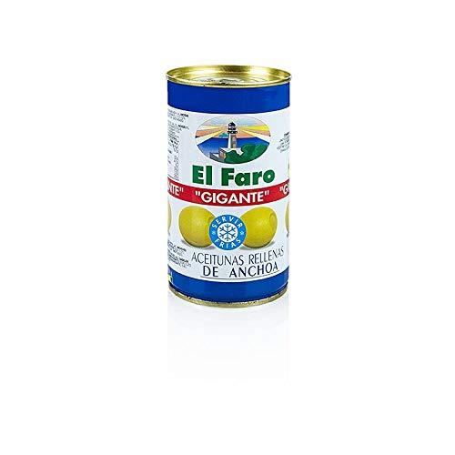 El Faro Gigante Oliven gefüllt mit Anchovis (Sardellen) 350 g (150 g Abtropfgewicht)
