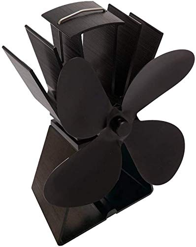 NAYY Herd Fan Leiser Betrieb 4-Blatt Wärmeenergie for Holz/Holzofen/Ofen/Kamin -Holz Pellets Feuer Fan